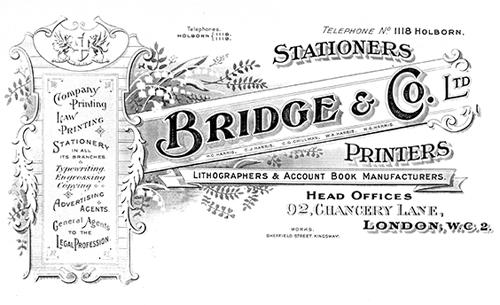 Bridge & Company letterhead, 1930s