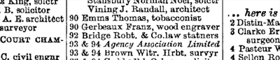 Listing of Bridge & Company at 92 Chancery Lane Post Office London Directory, 1899