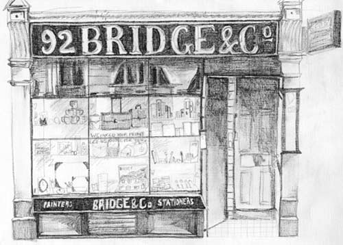 Drawing of former shop by Ruth Harris, 2006